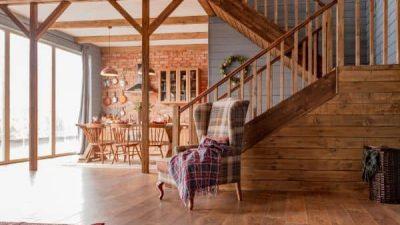 wood rustic home living room